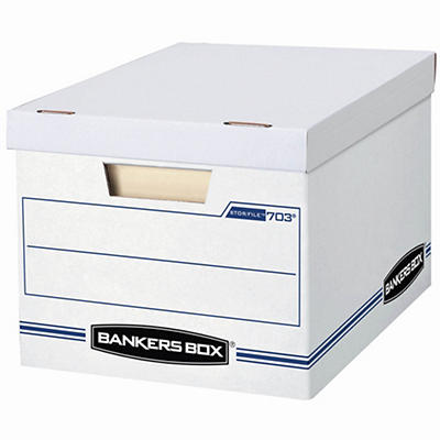 Bankers Box File/Store Record Storage Boxes, 10 pk. - White