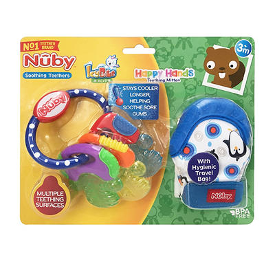 Nuby Icy Bite Keys and Happy Hands Soothing Mitten Teethers