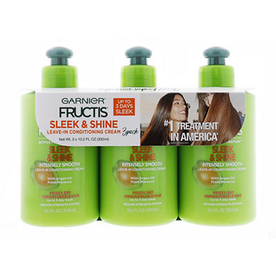 Garnier Fructis Sleek & Shine Leave-In Conditioning Cream, 3 pk./10.2