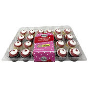 Two-Bite Assorted Cupcakes with Red and White Twist Icing, 24 ct.