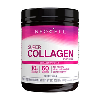 Neocell Super Collagen Unflavored Dietary Supplement Powder, 19 oz.