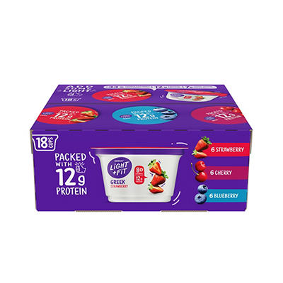 Dannon Light & Fit Variety Non Fat Greek Yogurt, 18 pk./5.3 oz.