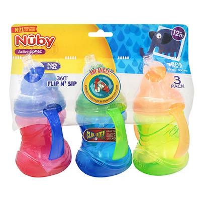 Nuby Flip N' Sip Cups with Weighted Straws, 3 ct.