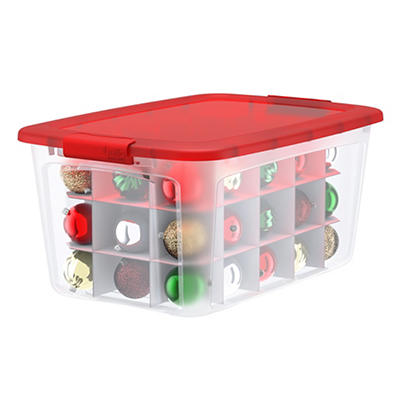 Bella 54-Qt. Ornament Box with Locking Lid and Inserts - Clear