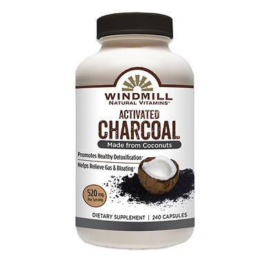 Windmill Activated Charcoal Dietary Supplement Capsule, 240 ct.