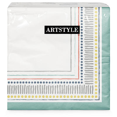 "Artstyle All Lined Up 13"" Three-Ply Napkin, 120 ct."