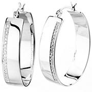 .25 ct. t.w. Diamond Hoop Earrings in Sterling Silver