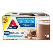 Atkins Milk Chocolate Protein Rich Shake, 15 ct./11 oz.
