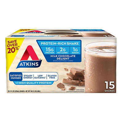 Atkins Milk Chocolate Protein Rich Shake, 15 ct./11 oz.