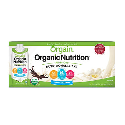 Orgain All-In-One Vanilla Flavored Nutritional Shake, 12 ct./11 oz.