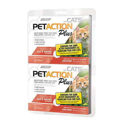 PetAction Plus  Flea and Tick Control for Cats, 2 pk.
