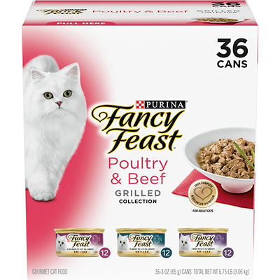 Purina Fancy Feast Grilled Poultry & Beef Feast Variety Cat Food, 36 p