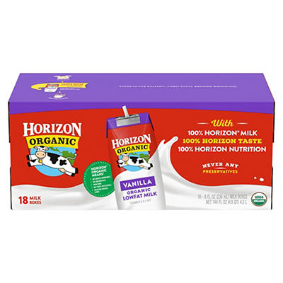 Horizon Organic Vanilla Low-Fat Milk, 18 pk./8 oz.