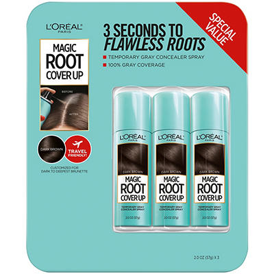 L'Oreal Paris Magic Root Cover Up Gray Concealer Spray, Dark Brown, 3