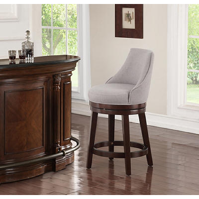 "Hampton Point Kass 24"" Swoop Upholstered Wood Stool - Gray"