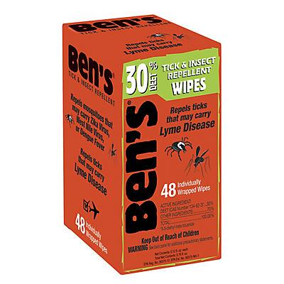 Ben's 30% DEET Tick & Insect Repellent Wipes, 48 ct.