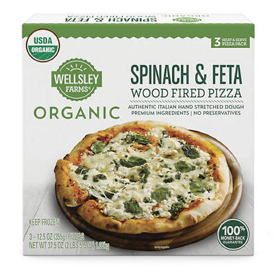 Wellsley Farms Organic Spinach & Feta Wood Fired Pizza, 3 ct.