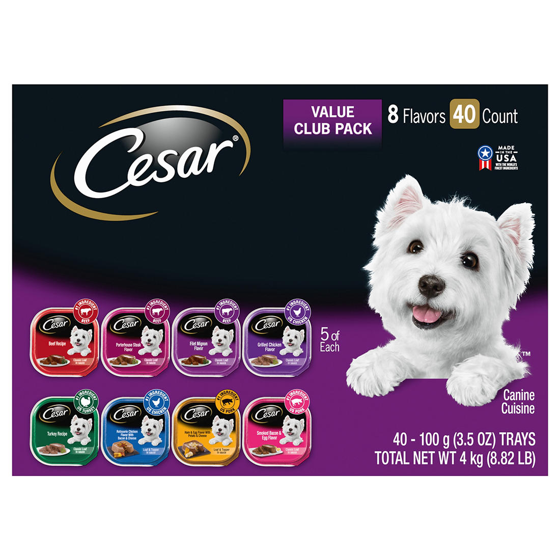 picture regarding Caesars Dog Food Printable Coupons identify Cesar Clics Wide range Doggy Foods Trays, 40 ct./3.5 oz.