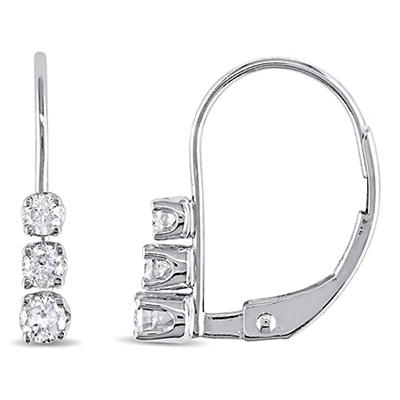 .25 ct. t.w. 3-Stone Diamond Earrings in 14k White Gold