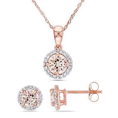 Morganite and .16 ct. t.w. Diamond Halo Stud Earrings and Pendant in 1