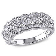 .5 ct. t.w. Diamond Vintage Anniversary Bank in 10k White Gold, Size 6
