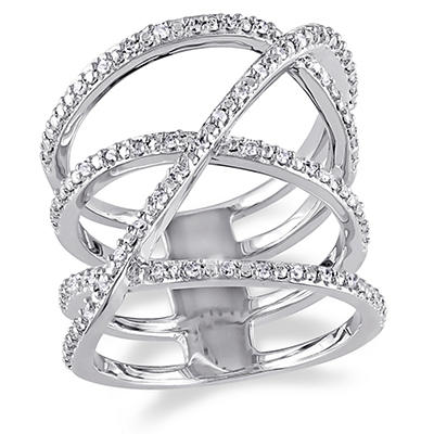 .20 ct. t.w. Diamond Crossover Ring in Sterling Silver, Size 5