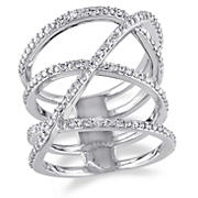 .20 ct. t.w. Diamond Crossover Ring in Sterling Silver, Size 6
