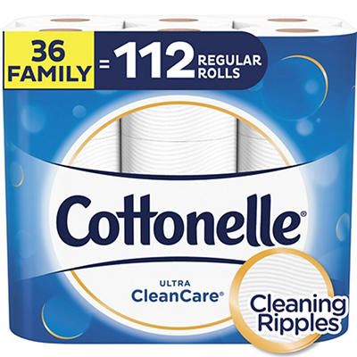 Cottonelle Ultra CleanCare 1-Ply, 224-Sheet Toilet Tissue, 36 pk.