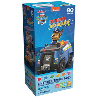 Kellogg's Paw Patrol Rescue Vehicles Fruit Flavored Snacks, 80 ct.