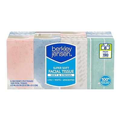 Berkley Jensen Super Soft Facial Tissue, 8 pk./190 ct.
