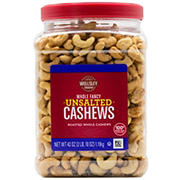 Wellsley Farms Whole Fancy Unsalted Roasted Cashews, 42 oz.