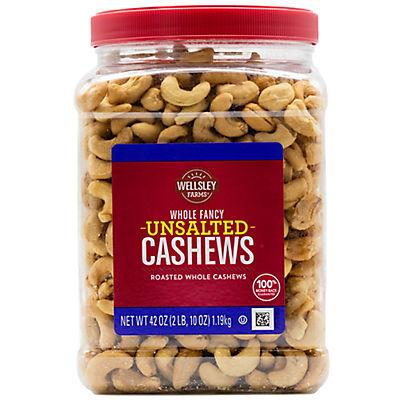 Wellsley Farms Whole Fancy Unsalted Roasted Cashews, 42 oz.