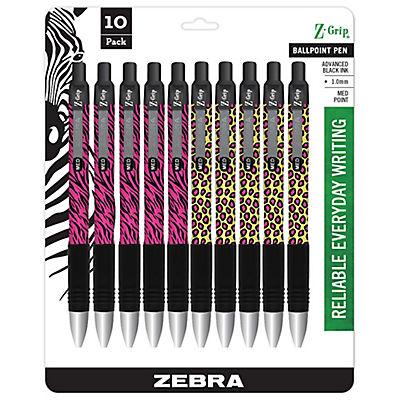 Zebra 1.0mm Z-Grip Plus Animal Print Retractable Ballpoint Pens, 10 ct