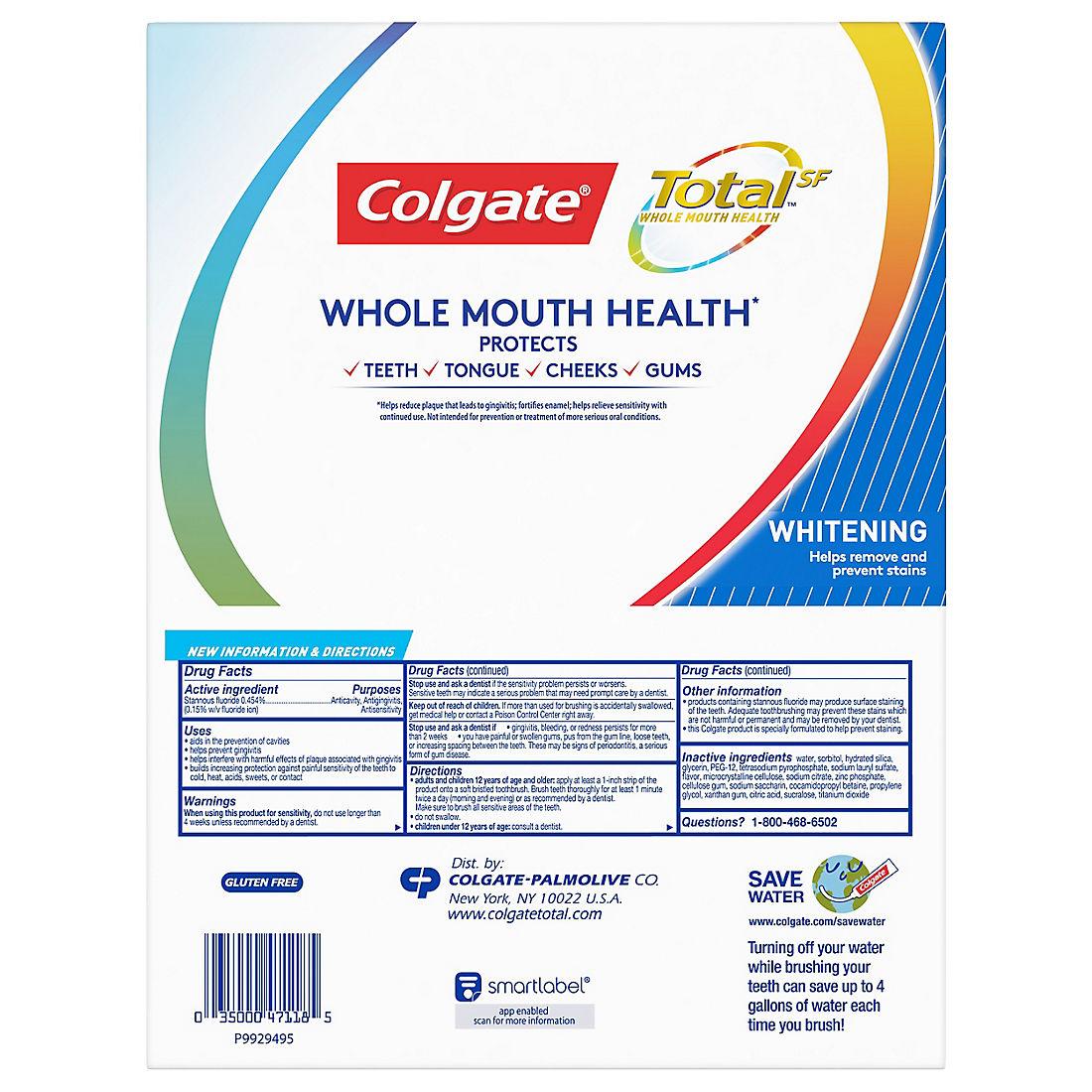 Colgate Total Whitening Toothpaste 5 Pk 6 3 Oz Bjs Wholesale Club