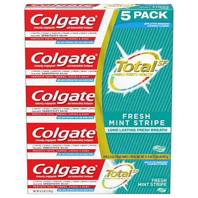 Colgate Total Toothpaste, Fresh Mint Stripe Gel, 5 pk./6.3 oz.