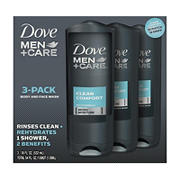 Dove Men Clean Comfort Body Wash, 3 pk./18 oz.