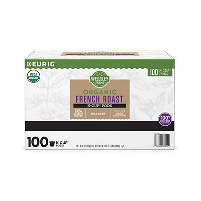 Wellsley Farms Organic French Roast Coffee K-Cup Pods, 100 ct.