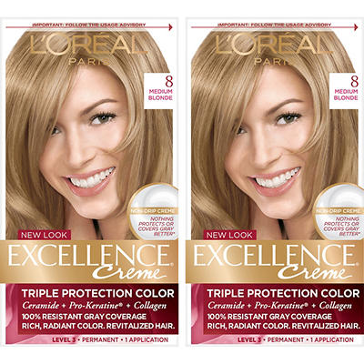 L'Oreal Paris Excellence Creme Hair Color, Medium Blonde 8, 2 pk.