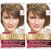 L'Oreal Paris Excellence Creme Hair Color, Light Brown 6, 2 pk.