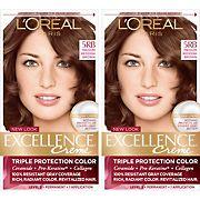L'Oreal Paris Excellence Creme Hair Color, Medium Reddish Brown 5RB, 2 pk.