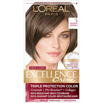 L'Oreal Paris Excellence Creme Hair Color, Medium Brown, 2 pk.