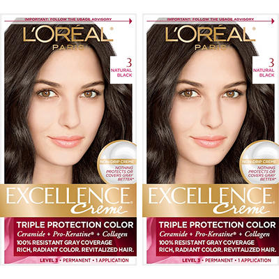 L'Oreal Paris Excellence Creme Hair Color, Natural Black 3, 2 pk.