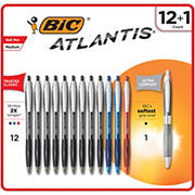 BIC Atlantis Original Ball Pen, 12 ct. + BIC Atlantis Ultra Comfort Ballpoint Pen, 1 ct.