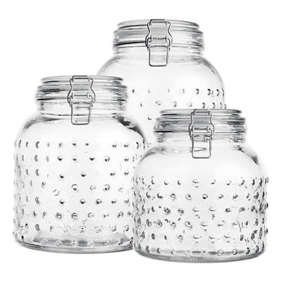 Home Essentials and Beyond 3-Pc. Glass Hobnail Canister Set