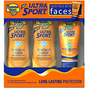 Banana Boat SPF 30 Twin Pack Sports Sunscreen Lotion, 2 pk./8 fl. oz. with Sports Faces Sunscreen Lotion, 3 fl. oz.