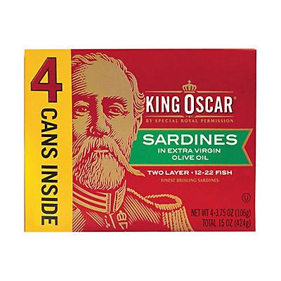 King Oscar Sardines in Extra Virgin Olive Oil, 4 pk./3.75 oz.