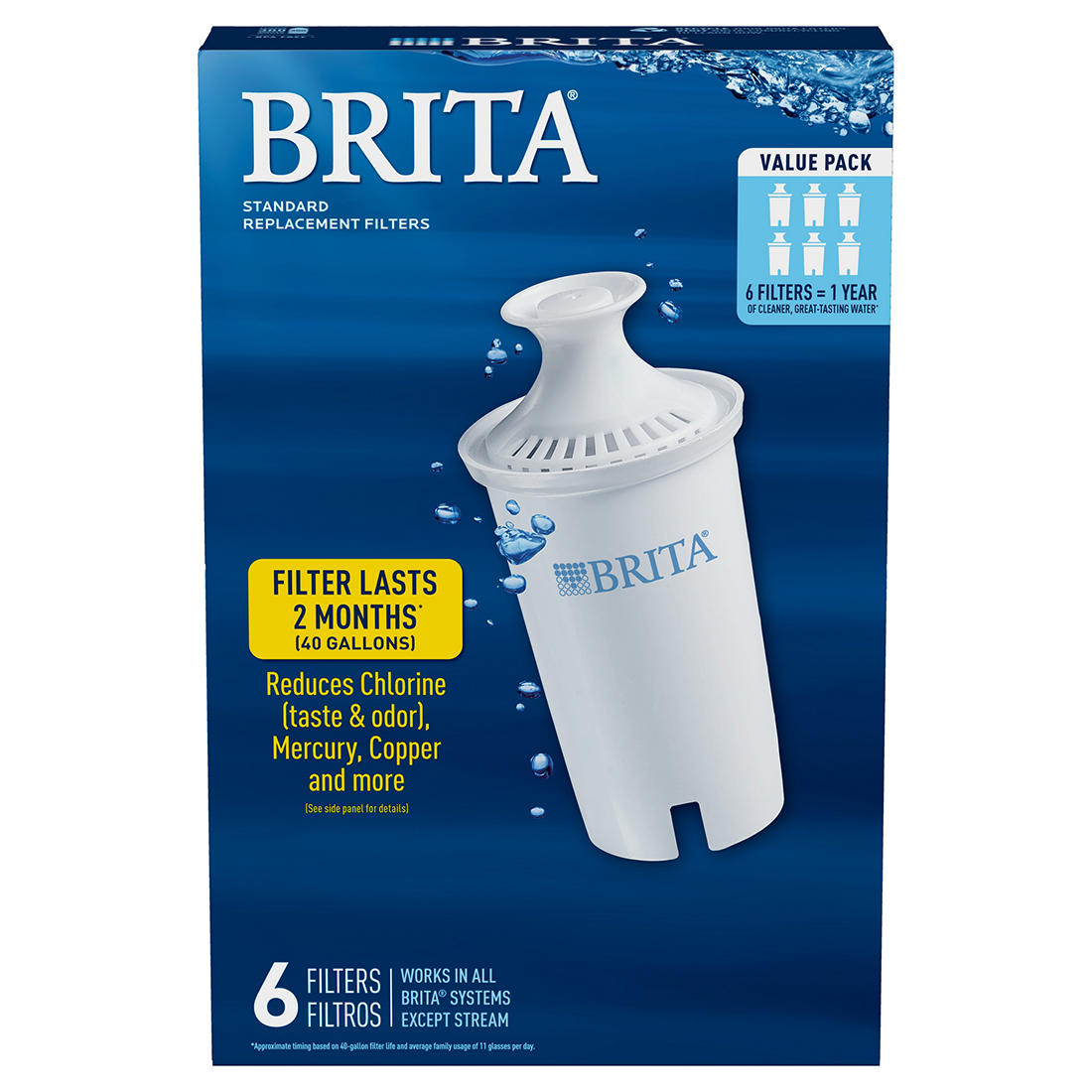 BRITA 3-PACK REPLACEMENT WATER FILTER for PITCHERS Reduces Chlorine Taste /& Odor