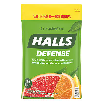Halls Defense Assorted Citrus Dietary Supplement Drops, 180 ct.