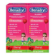 Children's Benadryl Antihistamine Allergy Relief Cherry Flavored Liquid, 2 pk./8 oz.