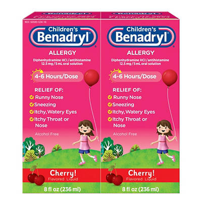 Children's Benadryl Antihistamine Allergy Relief Cherry Flavored Liqui